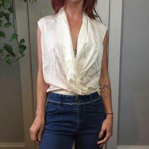 Theory Ivory Pearl Silk Sleeveless Blouse Shirt